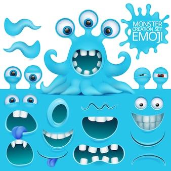 Engraçado polvo emoji monstro personagem criação conjunto.