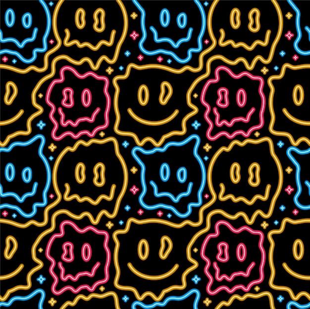 Engraçado psicodélico surreal derreter sorriso padrão sem emenda de luz de néon de rosto. padrão sem emenda de ilustração vetorial. sorriso de rosto de néon amarelo derretido, ácido, techno, impressão trippy para t-shirt, pôster, conceito de cartão