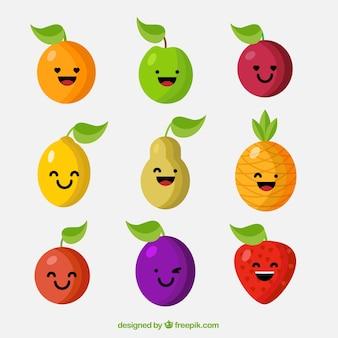 Engraçado seleção de caracteres de frutas
