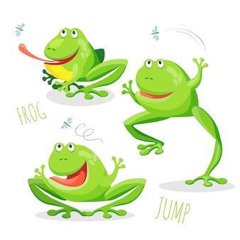 Engraçado, sorrindo, pular, rã