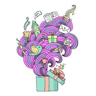 Engraçado, vetorial, ilustração, com, caixa presente