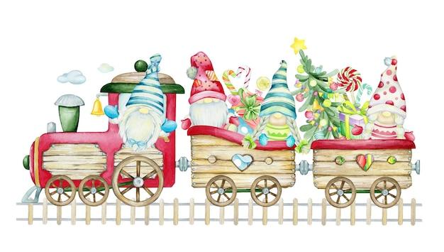 Engraçados gnomos escandinavos viajando no trem de natal