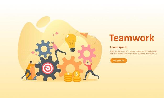 Engrenagem de conexão de trabalho em equipe