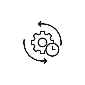 Engrenagem e flecha. ícone da linha de processo ágil. sinal de processo. vetor em fundo branco isolado. eps 10.