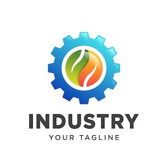 Engrenagem folha indústria logotipo simples gradiente.