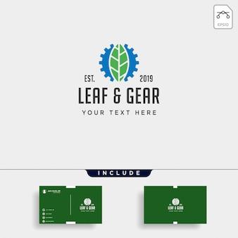 Engrenagem folha logo design ambiente industrial vector ícone