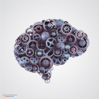 Engrenagens em forma de cérebro humano