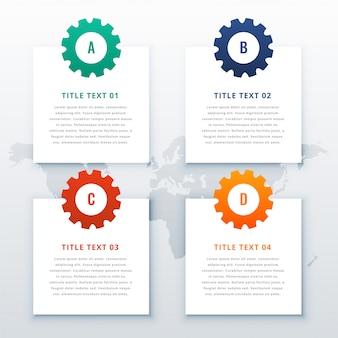 Engrenagens fundo infográfico com quatro etapas