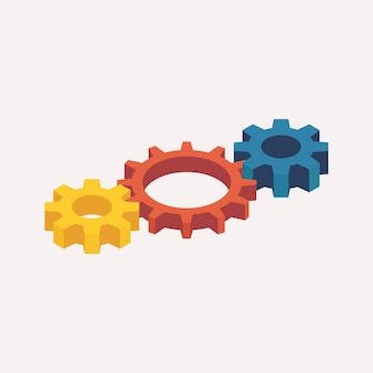 Engrenagens mecânicas isométricas. ilustração vetorial 3d