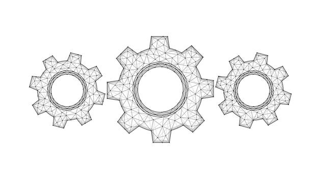 Engrenagens, roda dentada ou configurações. ilustração em vetor poligonal de um mecanismo.