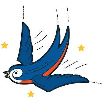 Engula com retro tradicional dos desenhos animados das estrelas.