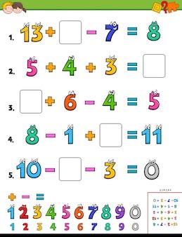 Enigma educacional do cálculo das matemáticas para crianças