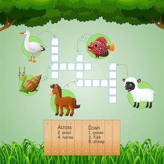 Enigmas de palavras cruzadas de fazenda animal para jogos de crianças
