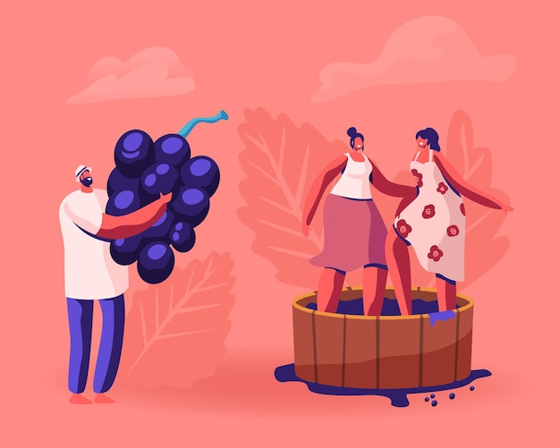 Enólogo segurando enormes uvas para vinho recém colhidas, colheita em vinhedo. ilustração plana dos desenhos animados