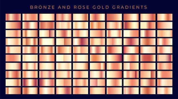Enorme coleção de ouro rosa ou gradientes de cobre