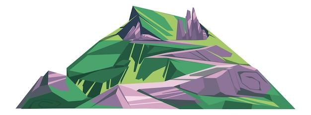 Enorme colina com grama verde e pedra cinza