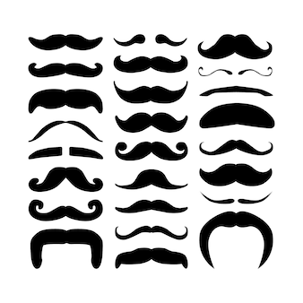 Enorme conjunto de bigodes de vector hipster silhueta preta.