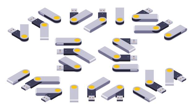 Enorme conjunto de drives flash usb isométricos
