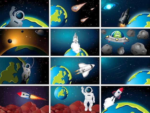 Enorme conjunto de plano de fundo de cena espacial