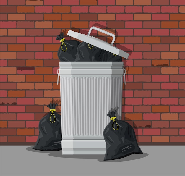Enorme lata de lixo na rua