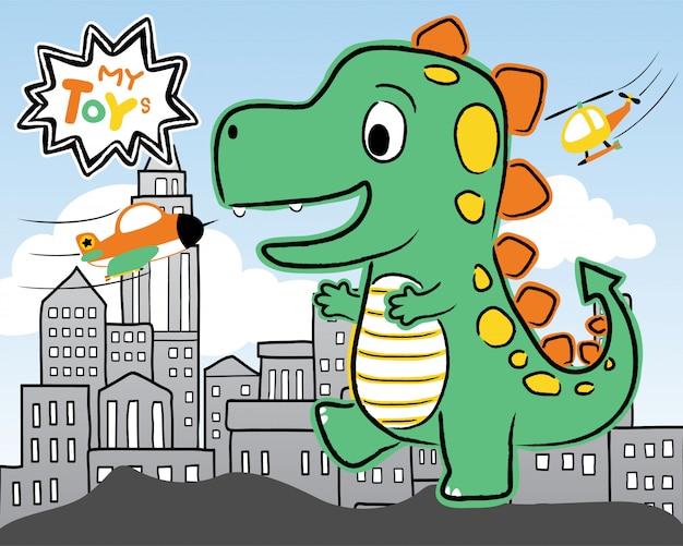Enorme monstro cidade de ataque de desenhos animados