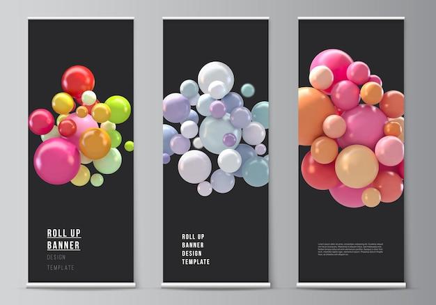 Enrole modelos para suportes de banner verticais com esferas coloridas em 3d e bolhas brilhantes