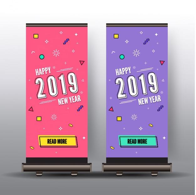 Enrole o estilo de memphis feliz ano novo 2019 colorido