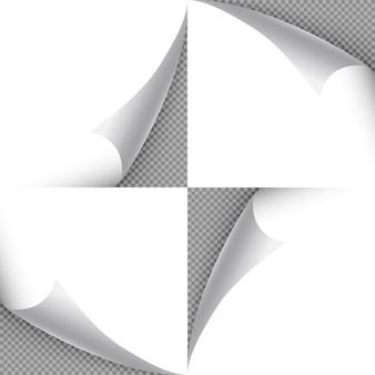 Enrole os cantos de papel com fundo transparente. adesivo de folha, ilustração de rótulo em branco de mensagem