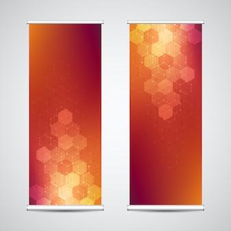 Enrole os estandes de banner com fundo geométrico abstrato de hexágonos.