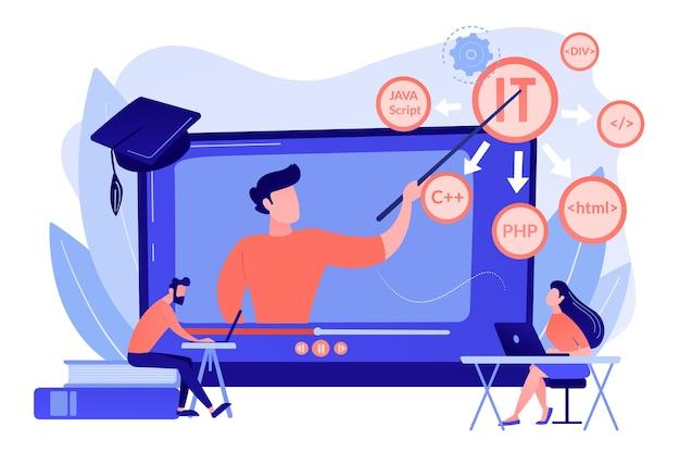 Ensinar alunos online. aprendizagem pela internet. programação de computador