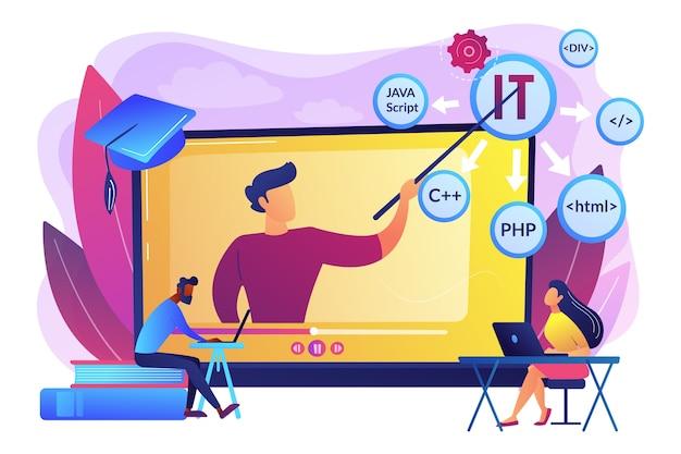 Ensinar alunos online. aprendizagem pela internet. programação de computadores. cursos de ti online, melhor treinamento em ti online, conceito de cursos de certificação online.