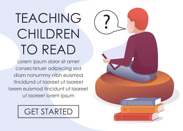 Ensinar as crianças a ler a página de inscrição on-line