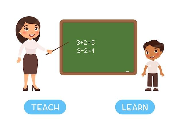 Ensinar e aprender antônimos flashcard opostos conceito ensino e aprendizagem