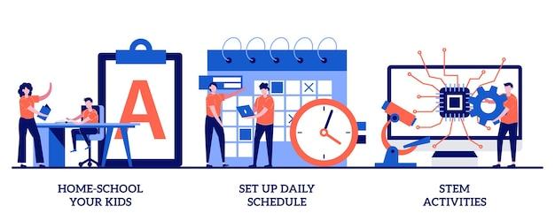 Ensine seus filhos em casa, configure a programação diária, conceito de atividades stem com pessoas minúsculas