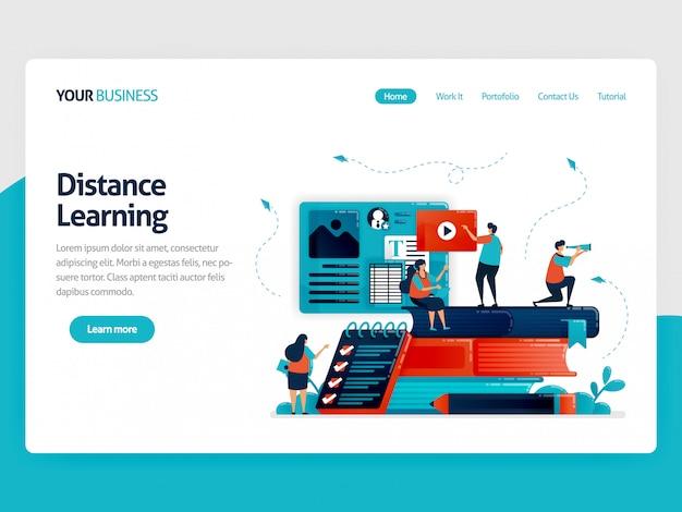 Ensino à distância da página de destino com e-learning.