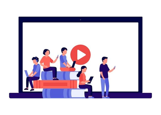 Ensino à distância de educação online no conceito de livro e vídeo em casa alunos laptop smartphone
