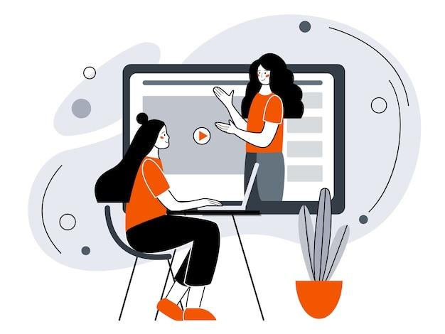 Ensino à distância ou treinamento empresarial. treinamento por webinar ou seminário em vídeo. ilustração em estilo simples.