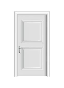 Entrada branca fechada. porta realista com moldura isolada no fundo branco. modelo de porta branca de design limpo. elemento decorativo de casa