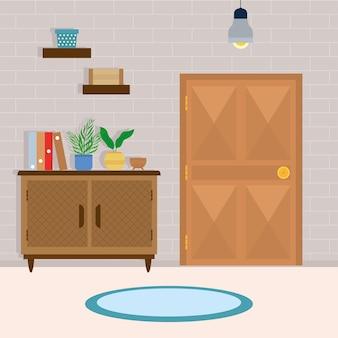 Entrada confortável com gaveta de madeira