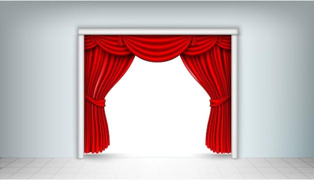 Entrada de cortinas de seda vermelha.