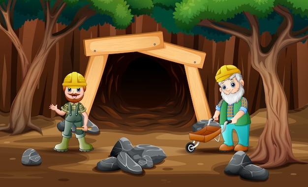 Entrada de mina dos desenhos animados com trabalhador mineiro
