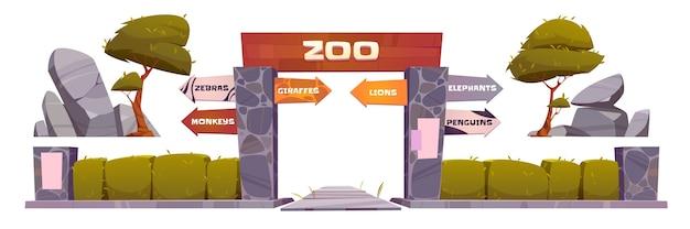 Entrada do zoológico com placa de madeira no arco.