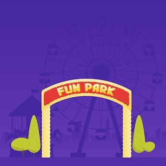 Entrada para o parque de diversões. carrossel de circo e uma roda gigante ao fundo. ilustração vetorial.