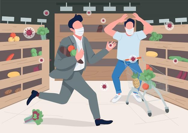 Entrar em pânico loja clientes ilustração de cor plana