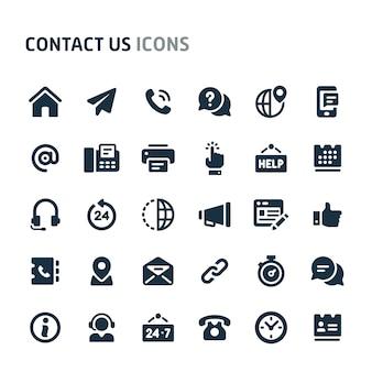 Entre em contato conosco conjunto de ícones. série de ícone preto fillio.