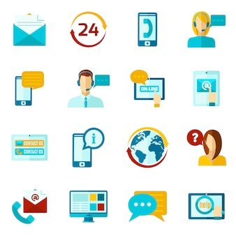 Entre em contato conosco conjunto de ícones