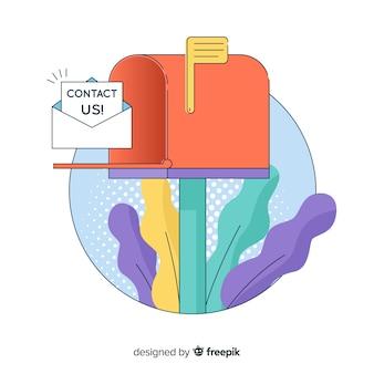 Entre em contato conosco plano de fundo de caixa de correio plana