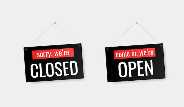 Entre, estamos abertos, desculpe, estamos sinalizados de porta fechada