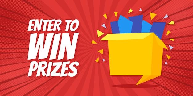 Entre para ganhar prêmios banner da caixa de presente