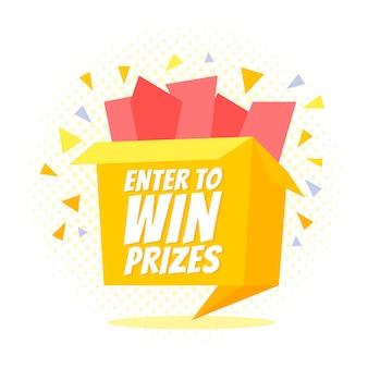Entre para ganhar prêmios caixa de presente. estilo de origami dos desenhos animados